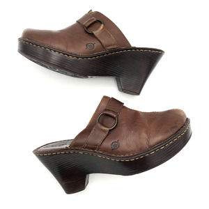 BORN Mama Brown Leather Clogs Mules 39 US 8 VTG